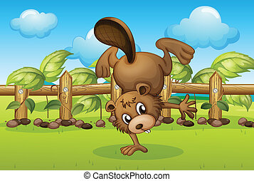 A beaver inside the wooden fence - Illustration of a beaver...