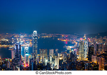 hong kong - Hong Kong skyline at night