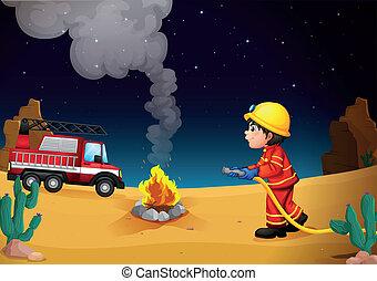 A fireman in the desert