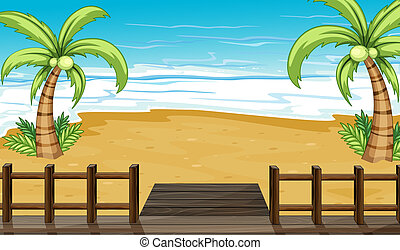 A view of the seaside with coconut trees - Illustration of...