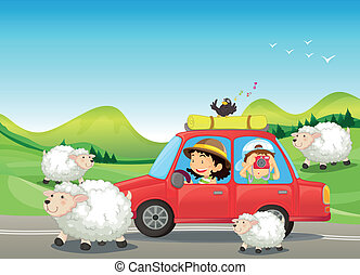 The red car and the sheeps at the road - Illustration of the...