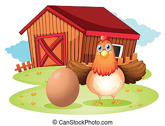A hen and an egg at the backyard - Illustration of a hen and...