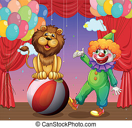 A lion and a clown at the circus - Illustration of a lion...
