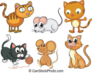 Cats and mice - Illustration of cats and mice on a white...