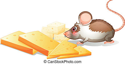 Slices of cheese with a mouse