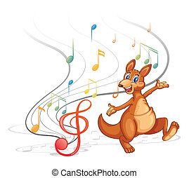 A kangaroo with the musical notes - Illustration of a...