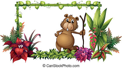 An animal with a piece of wood - Illustration of an animal...