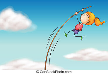 A girl hanging at a long stick - Illustration of a girl...