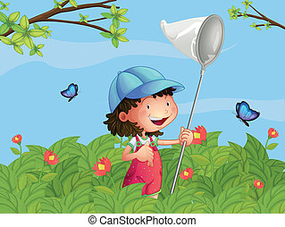 A girl with a cap catching butterflies - Illustration of a...