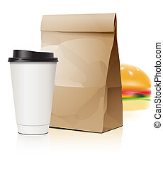Pack set with cup and package, vector Eps10 illustration.