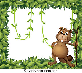 A beaver holding a stick on a leafy frame - Illustration of...