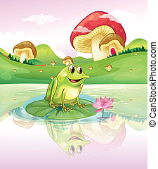 a, grenouille, au-dessus, nénuphar