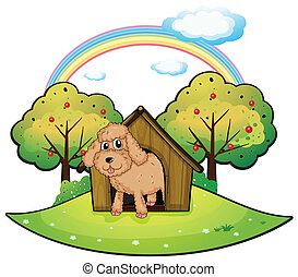 A dog with a doghouse - Illustration of a dog with a...