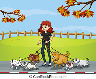 A lady at the park strolling with her pets - Illustration of...