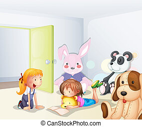 A room with kids and animals - Illustration of a room with...