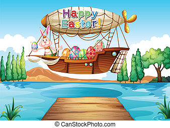 An airship with an easter greeting - Illustration of an...