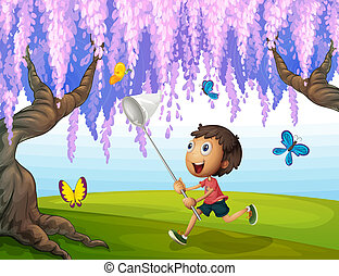 A boy catching butterflies at the park - Illustration of a...
