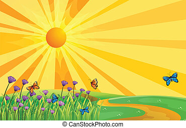 A sunset view and the butterflies - Illustration of a sunset...