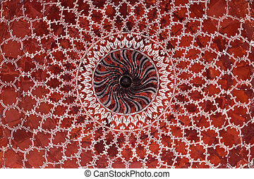Geometrical pattern on Taj Mahal - AGRA, INDIA - APRIL 10:...