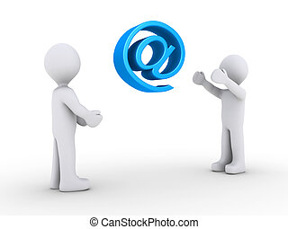 One person is throwing e-mail symbol to another - One 3d...