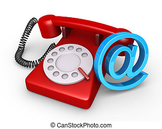 Telephone and e-mail symbol - 3d telephone and an e-mail...