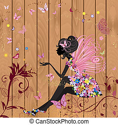 Flower Fairy on a wood texture for your design