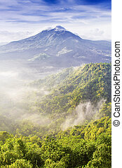 Batur volcano on the sunrise