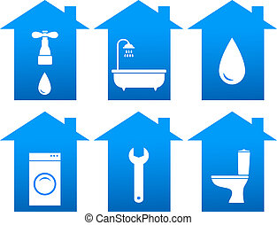 set of bathroom icons with house - repair set of blue...