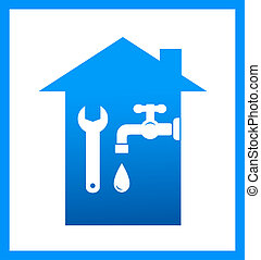 icon with water tap and wrench - graphic icon with water...