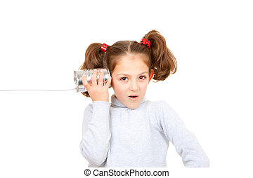 communication concept child listening with tin can and...