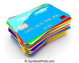 Pile of credit cards - A pile of many colorful credit cards...