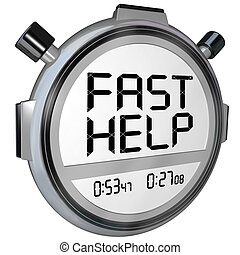 Fast Help Customer Support Stopwatch Timer Clock - The words...