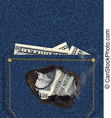 Money inside Pocket - burning hole - Money inside a jean's...