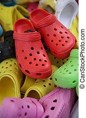 coloridos, sapatos, em, pulga, mercado