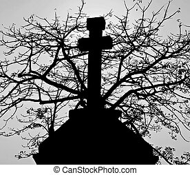 Cross and the tree - Cross monument on the tree background