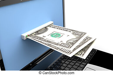 Laptop with money - Money in the screen of a laptop: Online...