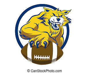 Bobcat with Football - A growling bobcat with human like...