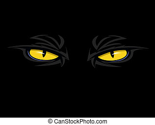 evil eyes - pair of scary, evil, yellow eyes looking out...