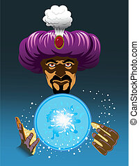 Fortune Teller - Fortune teller wearing large purple turban...