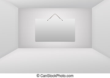 White card on white wall in the room