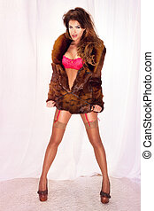 Fashionable woman posing in brown fur and lingerie -...