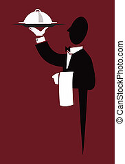 Waiter - A black and white silhouette of a waiter holding up...