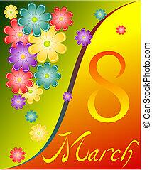 March 8, flowers, heart,