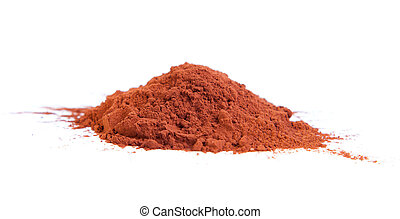 Cocoa powder on a white background
