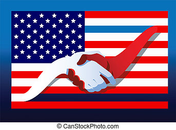 United We Stand - An American flag with an upper red stripe...