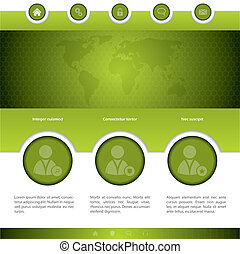 Social networking website design in green with different...