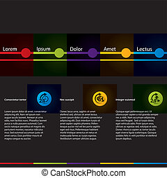 Simplistic design web template with colored elements