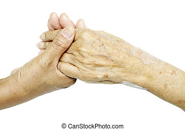 Comforting Hand - Woman Comforting Hand with Old woman...