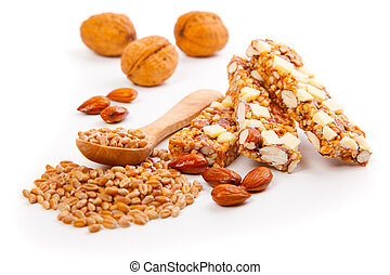 Protein bars with nuts, isolated on white background muesli...