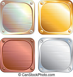 Square Metallic Plates, Signs. Vector Illustration